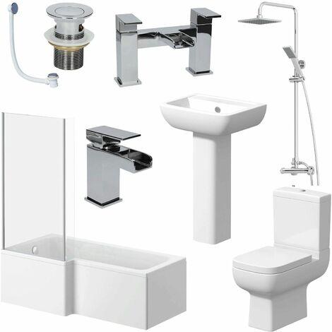 Complete Bathroom Suite 1600mm L Shape LH Bath Screen Toilet Basin Taps Shower