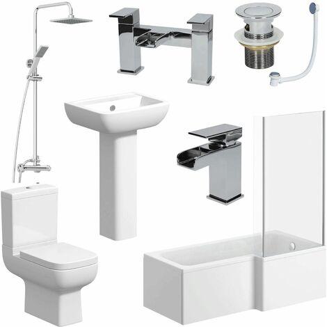 Complete Bathroom Suite 1600mm L Shape RH Bath Screen Toilet Basin Taps Shower