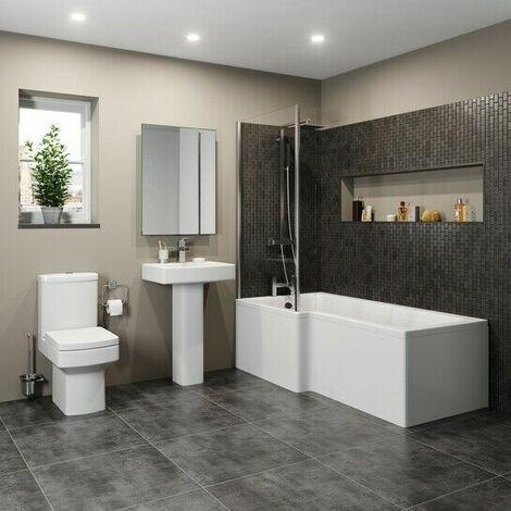 Modern Bathroom Suite 1600mm LH L Shaped Bath Screen Toilet Basin & Pedestal