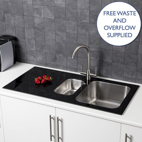 Säuber Kitchen Sink 1.5 Bowl Left Hand Drainer Stainless Steel Black Glass Waste