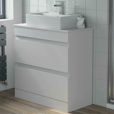 800mm Bathroom Furniture Countertop Vanity Unit Rectangular Basin Gloss White