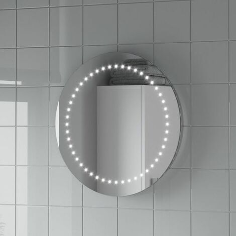 Round LED ILLUMINATED Bathroom Mirror Modern Light Battery Powered Circle 500mm