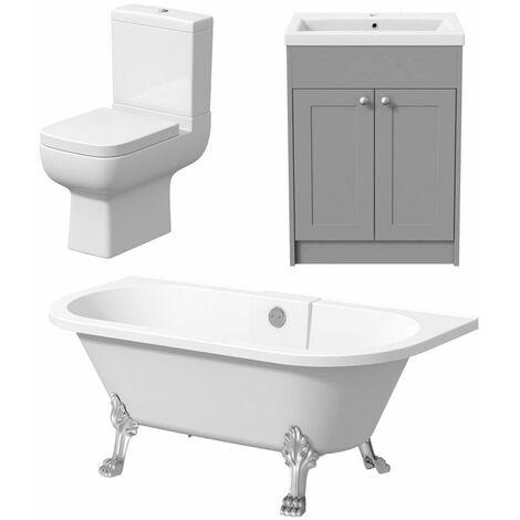 Bathroom Suite Freestanding Traditional Roll Top Bath Toilet Vanity Three Piece