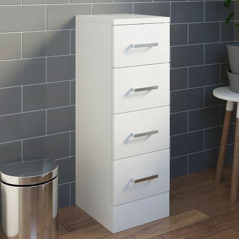 Bathroom 250 x 330 4 Drawer Unit Modern Furniture Cabinet White Gloss Storage