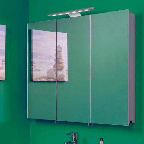 Croydex Bathroom Mirror Cabinet LED Illuminated Bar Modern Rectangular 3 Door