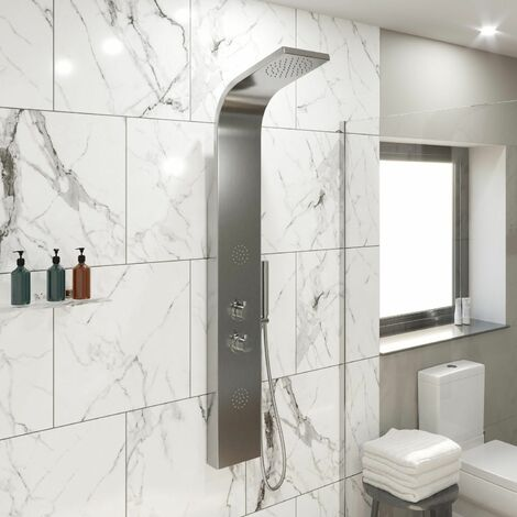 Thermostatic Brushed Steel Finish Shower Tower Panel 2 Body Jets 2 Twin Heads