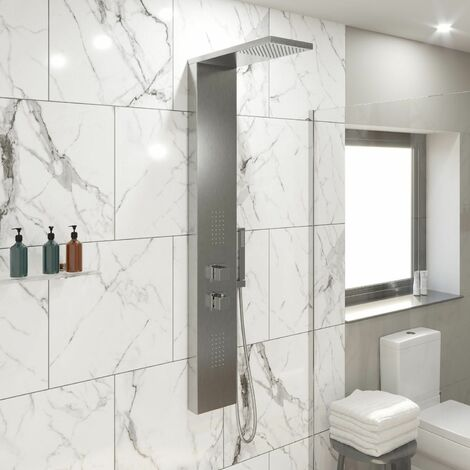 Thermostatic Bathroom Shower Panel Column Tower With 2 Body Jets Twin Head