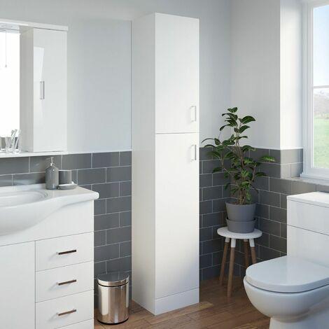 Bathroom Tall Cabinet Modern Furniture White Gloss Storage Cupboard Soft Close