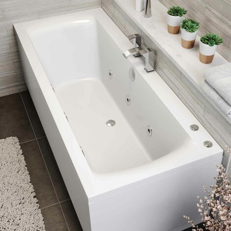 1700 x 750mm Whirlpool Bath Straight Double Ended Square 6 Jets Jacuzzi Style