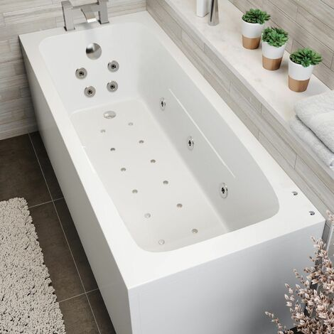 1700 x 700mm Whirlpool Bath Straight Single Ended Square Airspa 26 Jets Jacuzzi