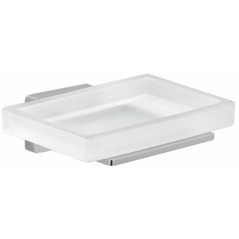Bathroom Soap Dish Chrome Square Wall Mounted Stylish Modern Frosted Glass