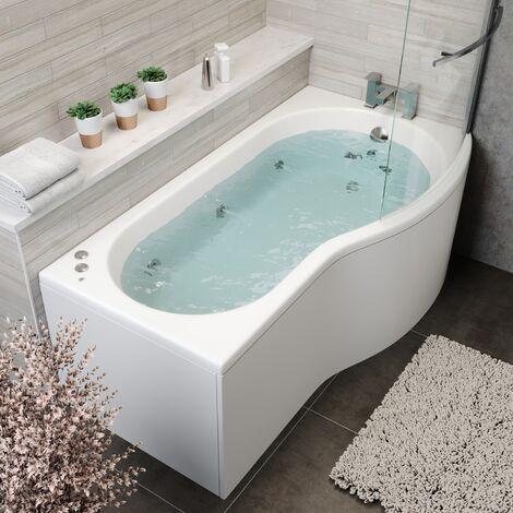 1700x900mm P Shape RH Whirlpool Jacuzzi Bath 10 Jet LED Lighting Screen & Panel