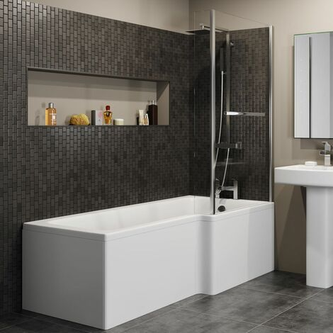 L Shaped Shower Bath Right Hand Bathtub 1700mm Screen & Rail Front Panel Acrylic