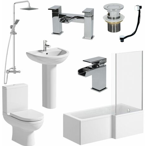 Bathroom Suite 1700mm L Shaped RH Bath Toilet Pedestal Basin Shower Screen Waste