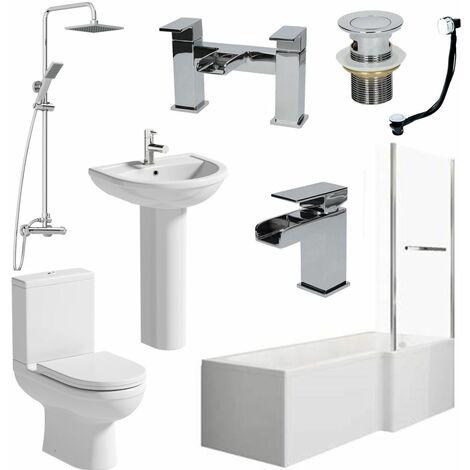 Bathroom Suite L Shaped 1700mm RH Bath Tap Waste Mixer Shower Screen Rail Panel