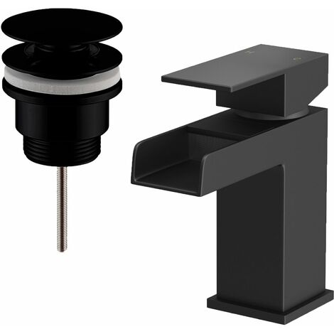 Mixer Tap Bathroom Basin Black Taps Modern Sink Filler Waterfall Cloakroom Waste