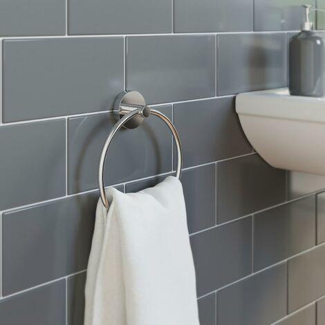 Bathroom WC Towel Ring Holder Chrome Round Wall Mounted Stylish Modern