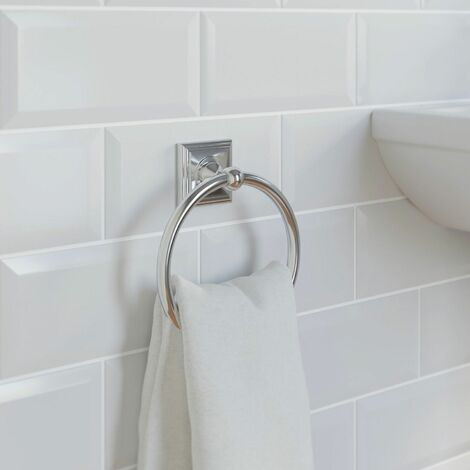 Bathroom Towel Ring Chrome Square Wall Mounted Stylish Traditional