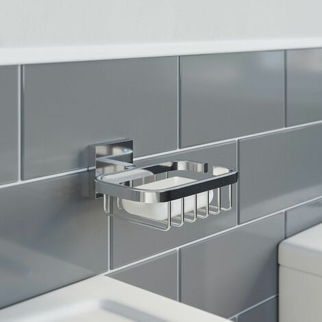 Bathroom WC Soap Dish Holder Chrome Square Wall Mounted Stylish Modern