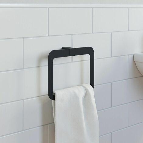 Bathroom WC Towel Ring Black Square Wall Mounted Stylish Modern