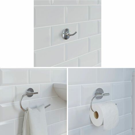 Bathroom Set Towel Ring Robe Hook Toilet Roll Holder Chrome Round Wall Mounted
