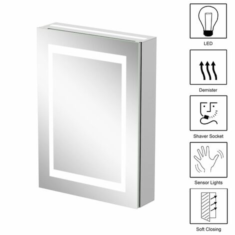 Bathroom LED Mirror Cabinet Illuminated Demister Pad Shaver Socket 500 x 700mm