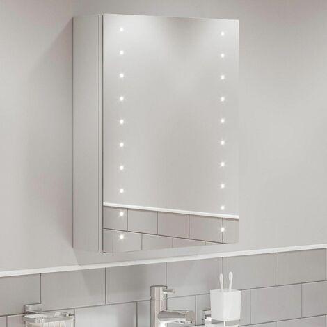 Bathroom LED Mirror Cabinet Illuminated Shaver Socket Demister Pad 700 x 500mm