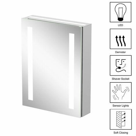 Bathroom LED Mirror Cabinet Shaver Socket Demister Pad Anti-fog IP44 650 x 500mm