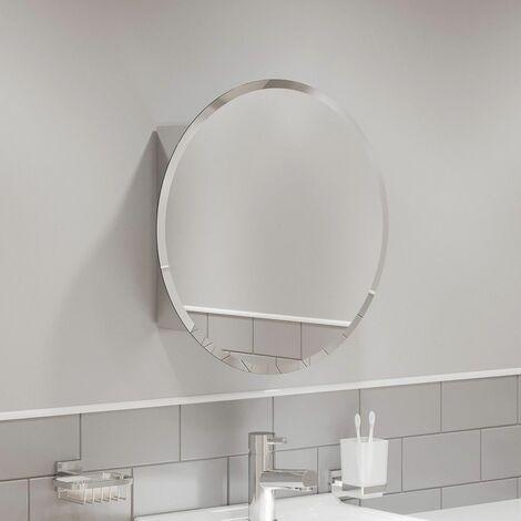Round Door Bathroom Mirror Cabinet Cupboard Stainless Steel Wall Mounted 500mm