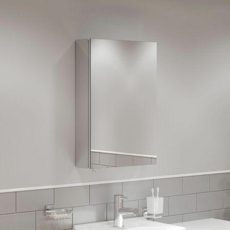 Single Door Bathroom Mirror Cabinet Cupboard Stainless Steel Wall Mounted 300mm