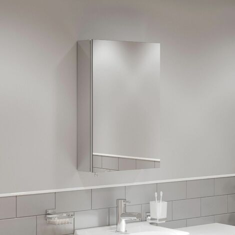 Single Door Bathroom Mirror Cabinet Cupboard Stainless Steel Wall Mounted 400mm