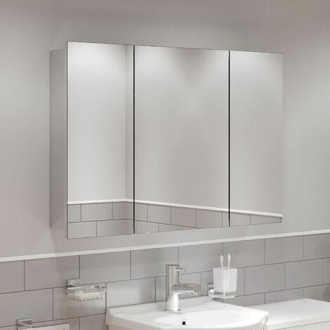 Triple Door Bathroom Mirror Cabinet Cupboard Stainless Steel Wall Mounted 900mm