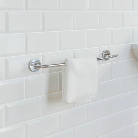 Bathroom Towel Rail 600mm Chrome Round Wall Mounted Stylish Traditional