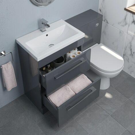 600mm Bathroom Drawer Vanity Unit Basin Concealed Cistern Toilet WC Gloss Grey