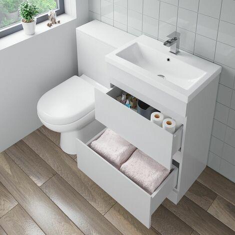 600mm Bathroom Drawer Vanity Unit Basin Toilet Soft Close Seat WC Gloss White
