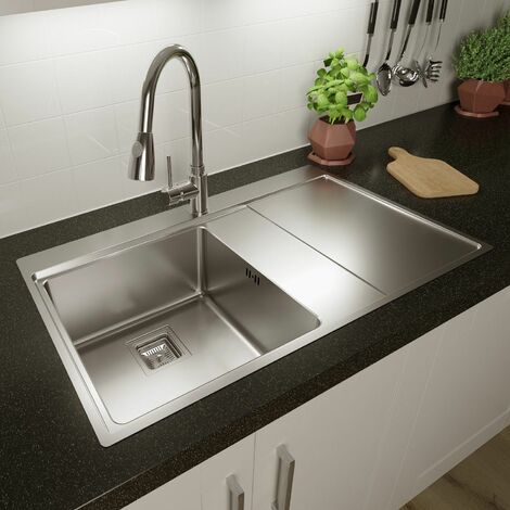 Sauber 1Single Bowl Square Inset Stainless Steel Kitchen Sink Right Hand Drainer