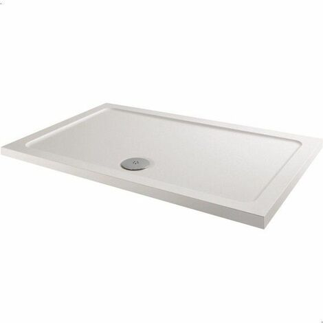 Modern Rectangle Shower Tray 1000 x 800mm Low Profile Slimline Lightweight White