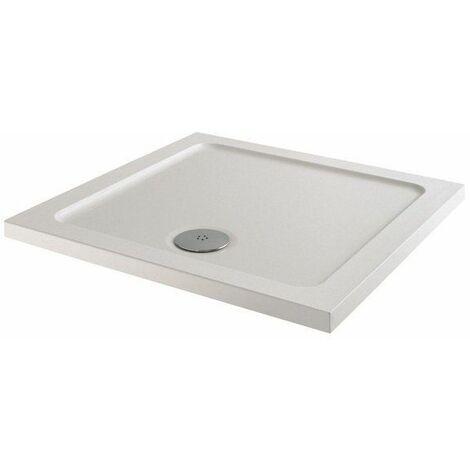 Modern Square Shower Tray 760 x 760mm Low Profile Slimline Lightweight White
