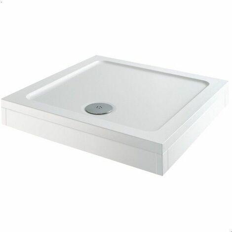 Modern Square Shower Tray 760 x 760mm Easy Plumb Slimline Lightweight White