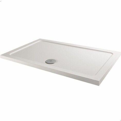 Modern Rectangle Shower Tray 1200 x 760mm Low Profile Slimline Lightweight White