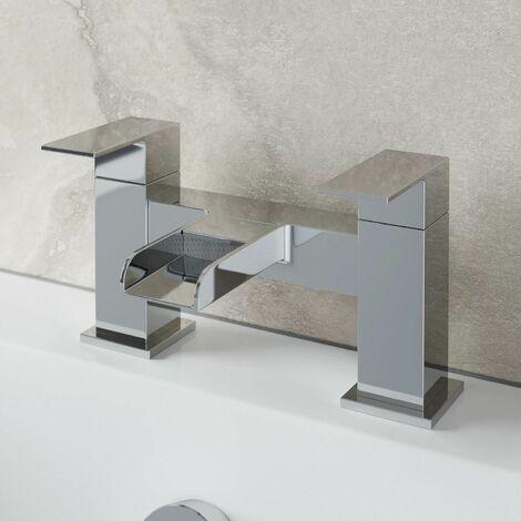 Bathroom Waterfall Bath Filler Mixer Tap Square Twin Lever Modern Chrome
