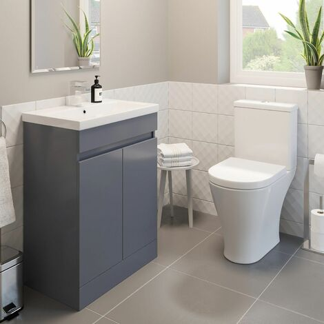 Bathroom Vanity Unit Basin Sink 600mm Modern Close Coupled Toilet WC Grey Gloss
