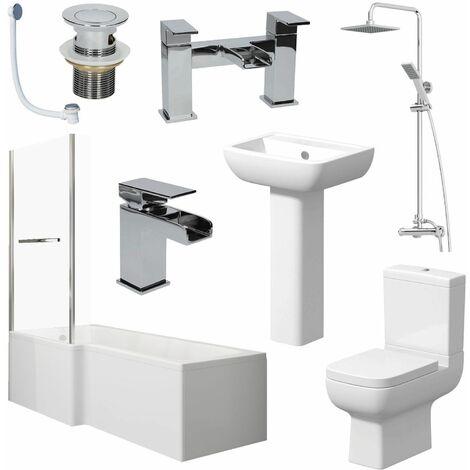 Bathroom Suite L Shape Bath LH Screen & Rail Toilet Basin Pedestal Shower Taps