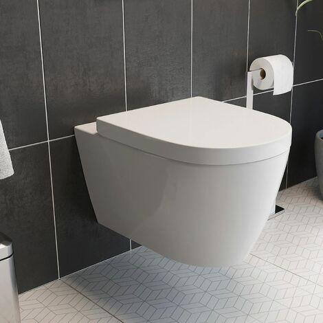 Bathroom Modern Wall Hung Toilet Pan Round WC Soft Close Toilet Seat White