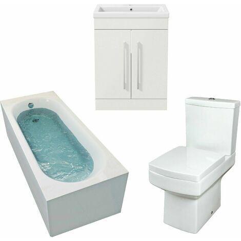 Bathroom Suite Gloss White 1700mm Straight Bath Toilet Basin Sink Vanity Unit