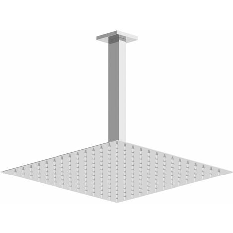 Ceiling Mounted Head 300mm Chrome Square Rainfall Fixed Shower Arm Slimline