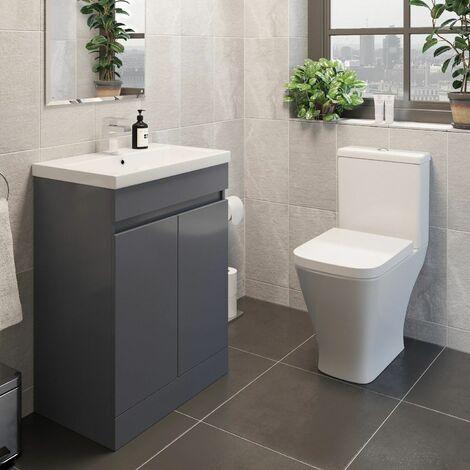 Modern Bathroom Suite Toilet Pan WC 600 mm Vanity Unit Basin Sink Grey Gloss