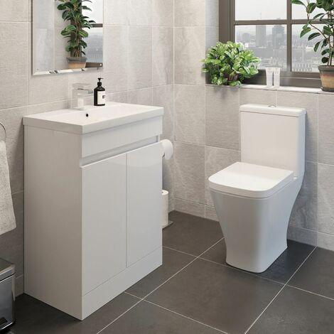 Modern Bathroom Suite Toilet Pan WC 600mm Vanity Unit Basin Sink White Gloss