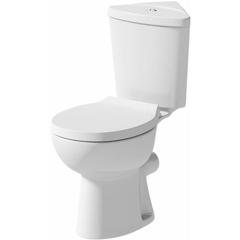 Close Coupled Bathroom Corner Toilet Space Saving WC Pan Soft Close Seat Cistern