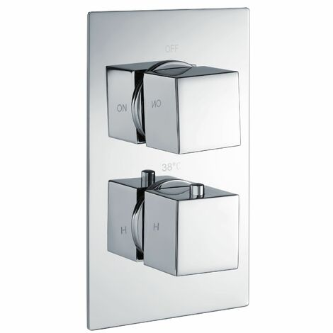 Thermostatic Concealed Shower Mixer Valve Square Control One Outlet Chrome Brass